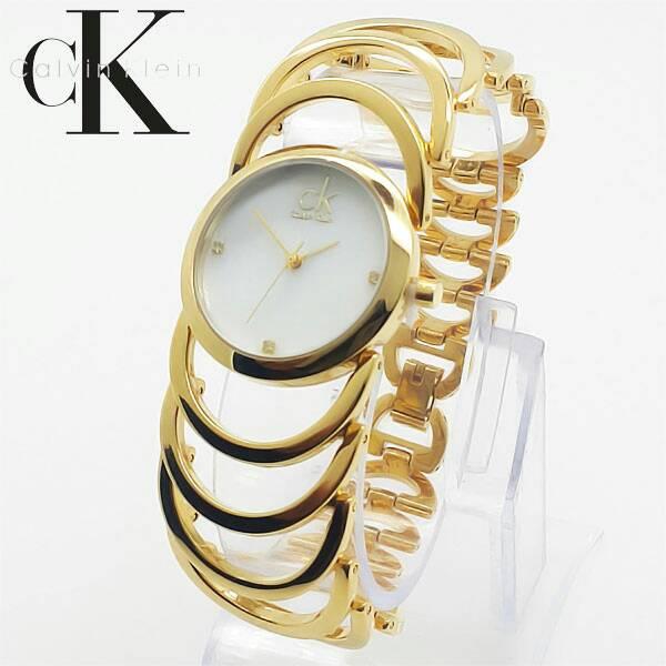 Jam Tangan Wanita / Cewek CK Rangka Rantai Gold 04625