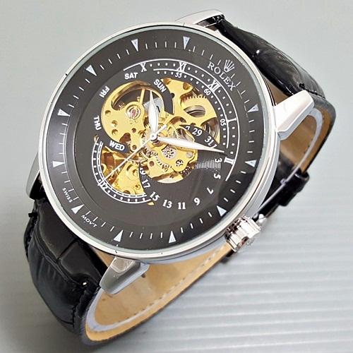 Jam Tangan Pria / Cowok Rolex Skeleton Alfa Leather Bla 05825