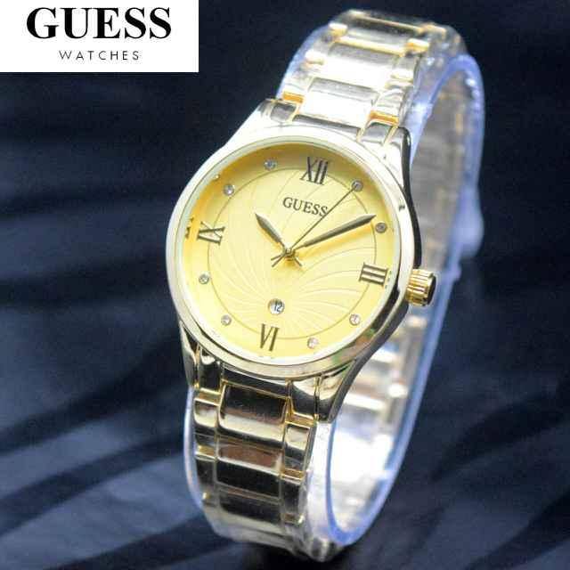 Jam Tangan Wanita / Cewek Guess Shine Rantai Gold 06225