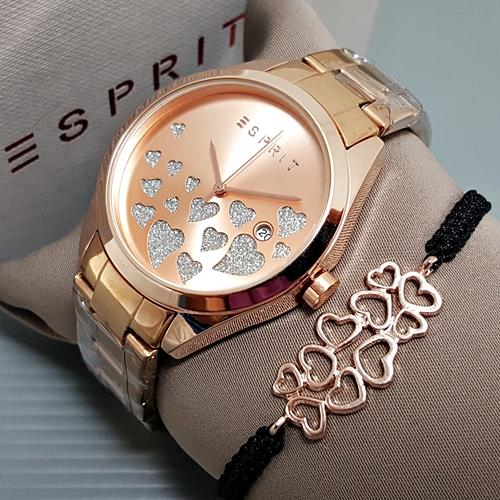 Jam Tangan Wanita / Cewek Esprit Paket Rantai Rosegold 06725