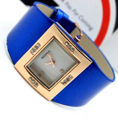 Jam Tangan Wanita / Cewek Bonia Glossy Leather Blue 08325