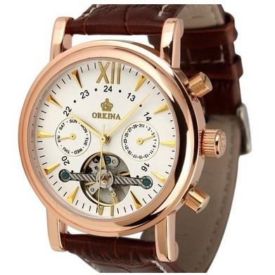 ESS Luxury Men Leather Strap Automatic Mechanical Watch - WM308 - Ro