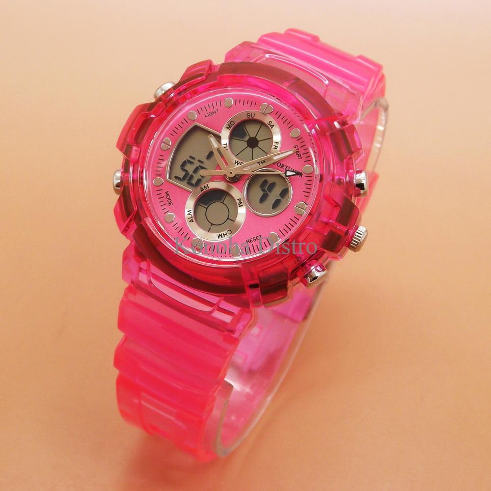 Jam Tangan Wanita / Cewek Fortuner Original L-Shock Rubber Dark Pink