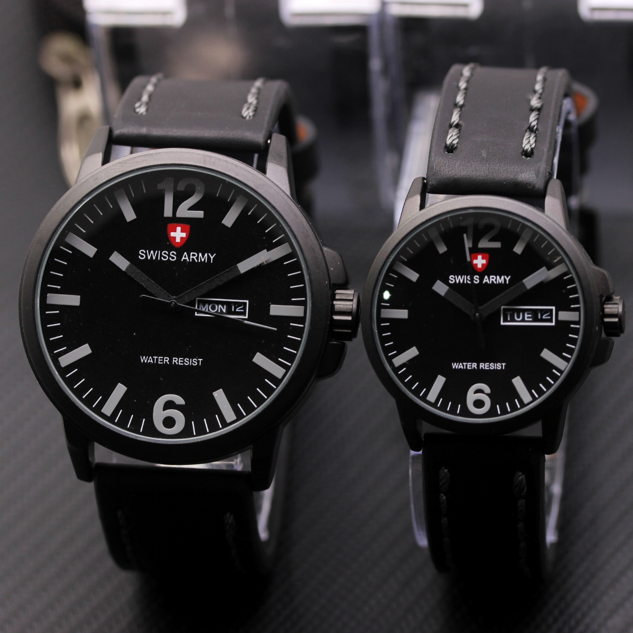 Jam Tangan Swiss Army Couple Leather Black List Grey 01525