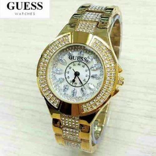 JAM TANGAN WANITA GUESS HB046FULL GOLD