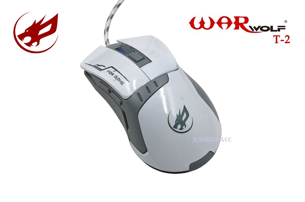 MOUSE GAMING WARWOLF T-2 WARNA PUTIH/GAMING MOUSE/MOUSE