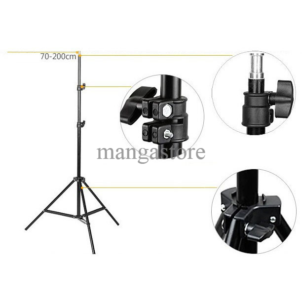 Portable Light Stand Tripod 3 Section 200cm For Studio Lightning