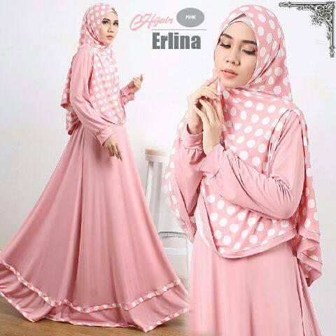 Gamis Syari Modern Erlina Pink (Murah Modis Cantik Terbaru)