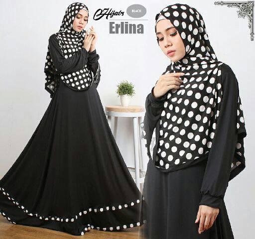 Gamis Syari Modern Erlina Black (Murah Modis Cantik Terbaru)