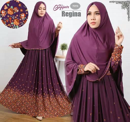 Gamis Syari Cantik Regina Purple (Murah Modern Terbaru Modis)