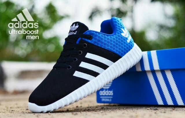 adidas ultra boost men black blue Murah