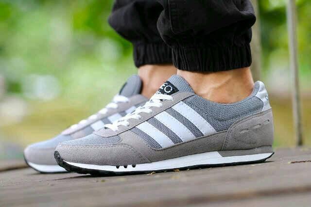 adidas neo racer men grey white Murah
