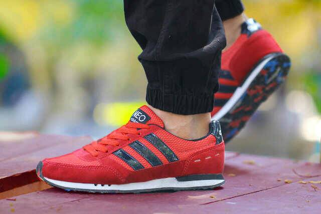 adidas neo racer men red black Murah