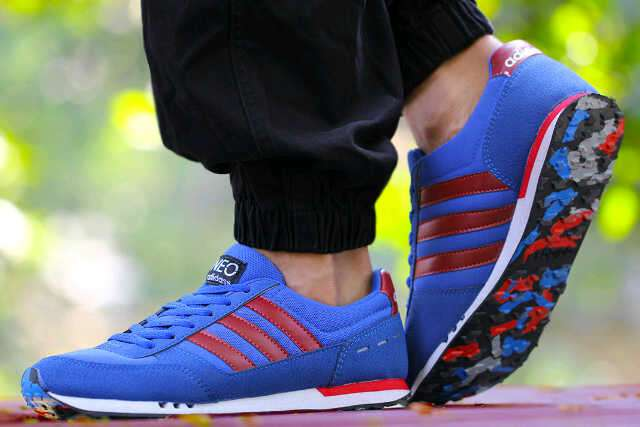 adidas neo racer men blue red Murah