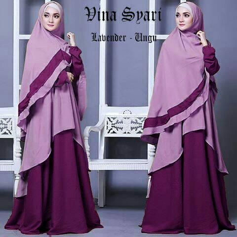 Gamis Syari Modern Vina Lavender ungu (murah terbaru cantik modis)