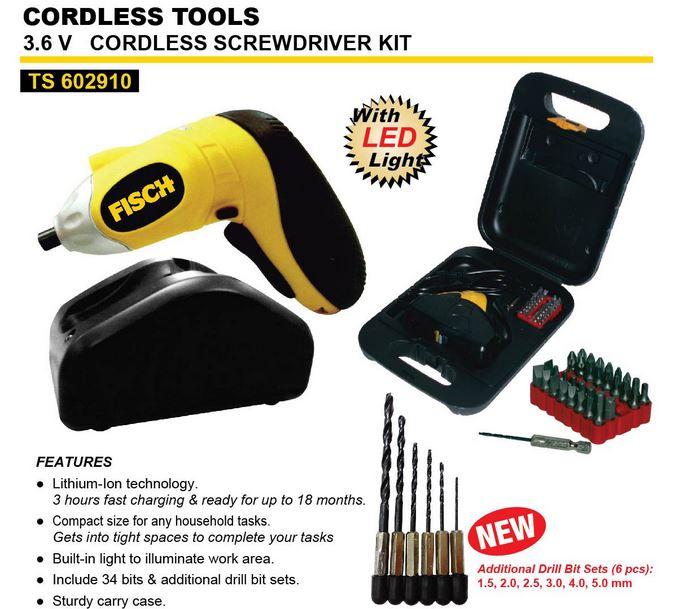 Mesin Bor Obeng Baterai Cordless Screwdriver FISCH + LED + Koper