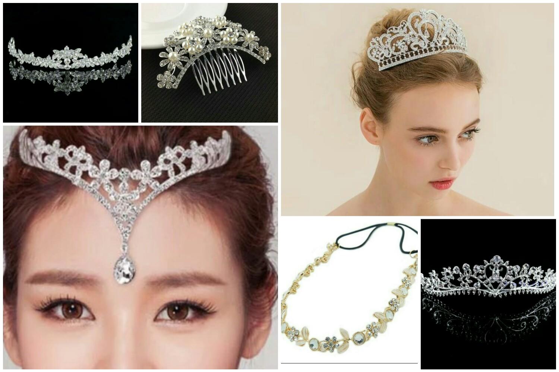 Jual Tiara Crown Headpiece Mahkota Pengantin Hijab Wedding Gift Us Tokopedia