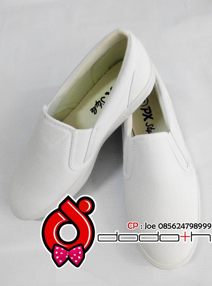 Jual Sepatu Slip On Kanvas Putih Polos PX Style Tipe 179 - Dodoth Bags Painting | Tokopedia