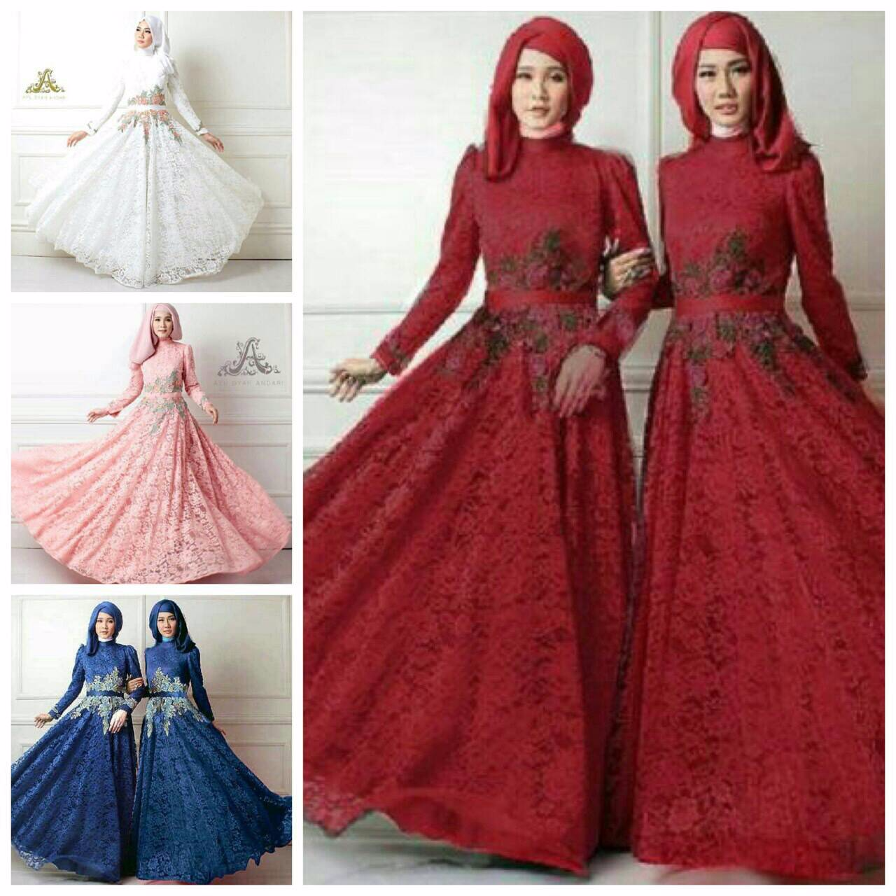 Jual Baju Gamis Maxi Hijab Paket Queen Hijab 4warna