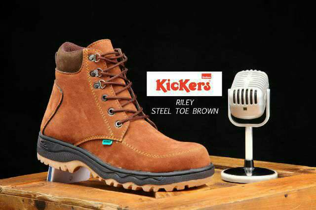 kickers riley steel toe brown