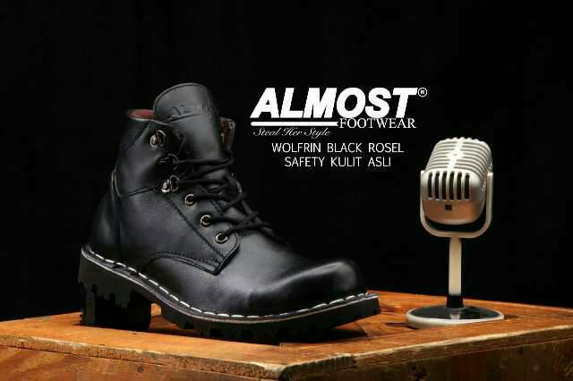 almost wolfrin black rosel safety boot kulit asli