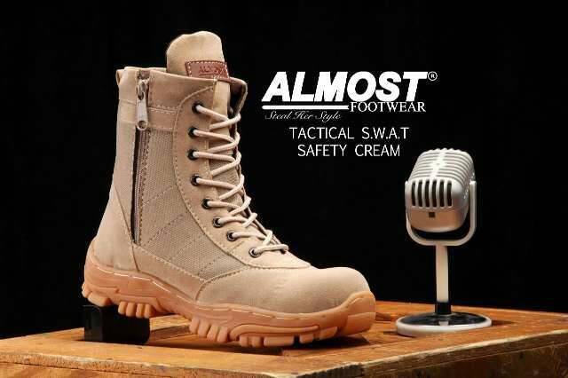 sepatu boot safety almost tactical swat cream