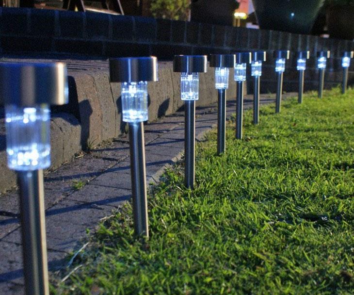 Jual Lampu taman tancap stainless 1 LED 37 cm Garden Lamp Solar - LANJAR JAYA |