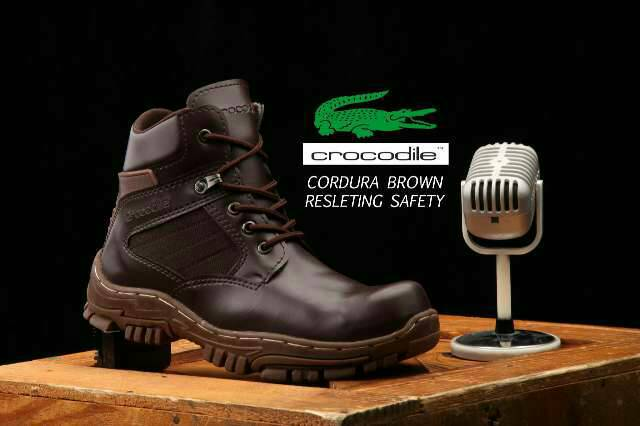 crocodile cordura brown resleting safety boot