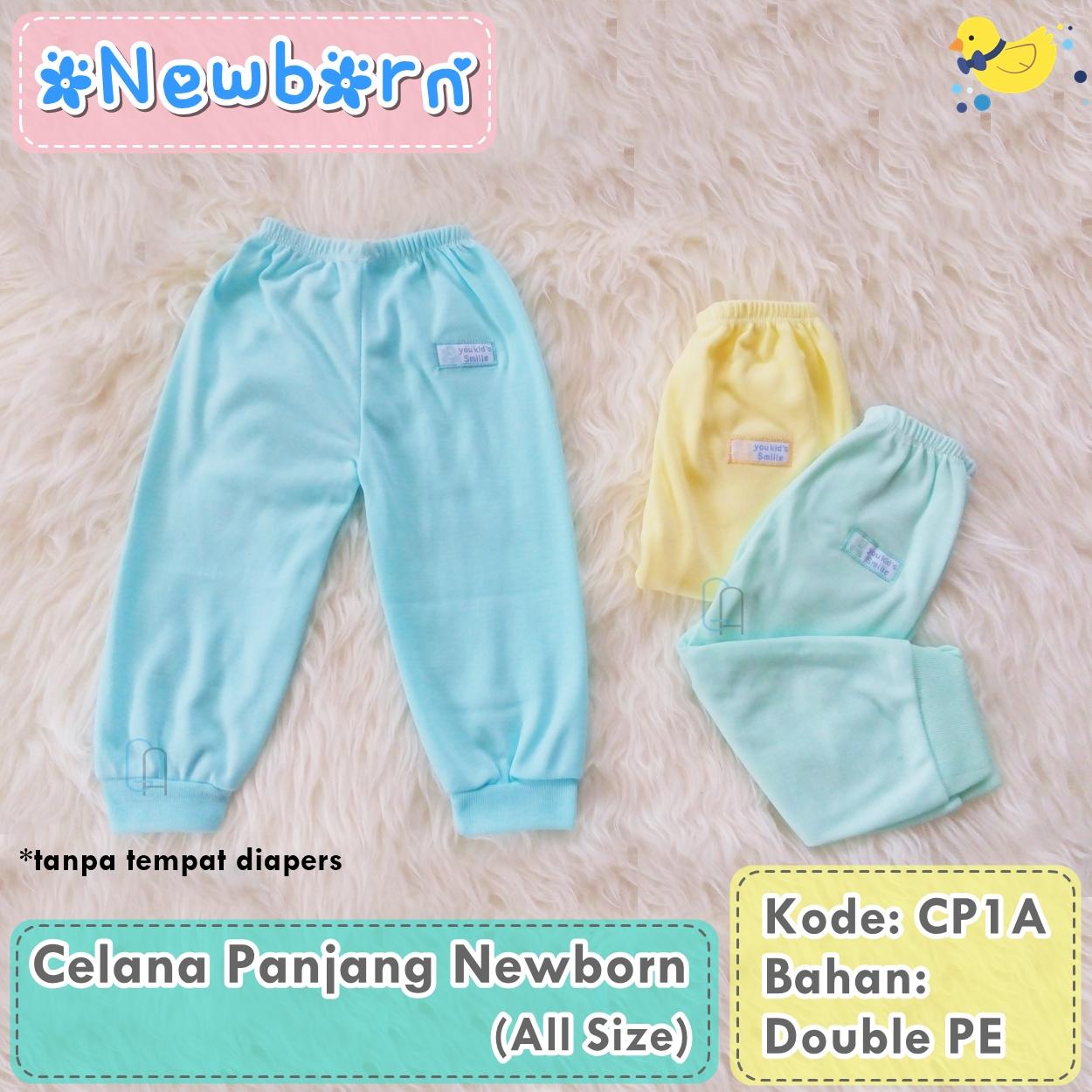 Set 3Pcs Celana Panjang Bayi Warna Polos (tanpa tempat diapers)
