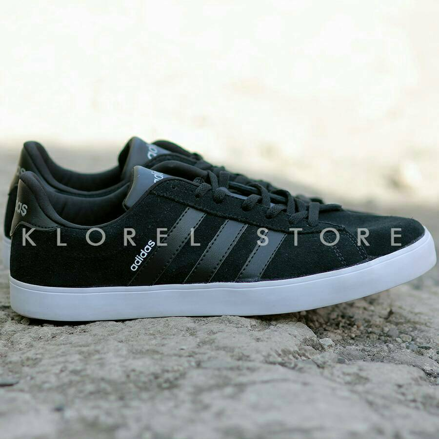 Adidas Neo Coderby Black Sepatu Original Vl Court Skate Suede Men Core