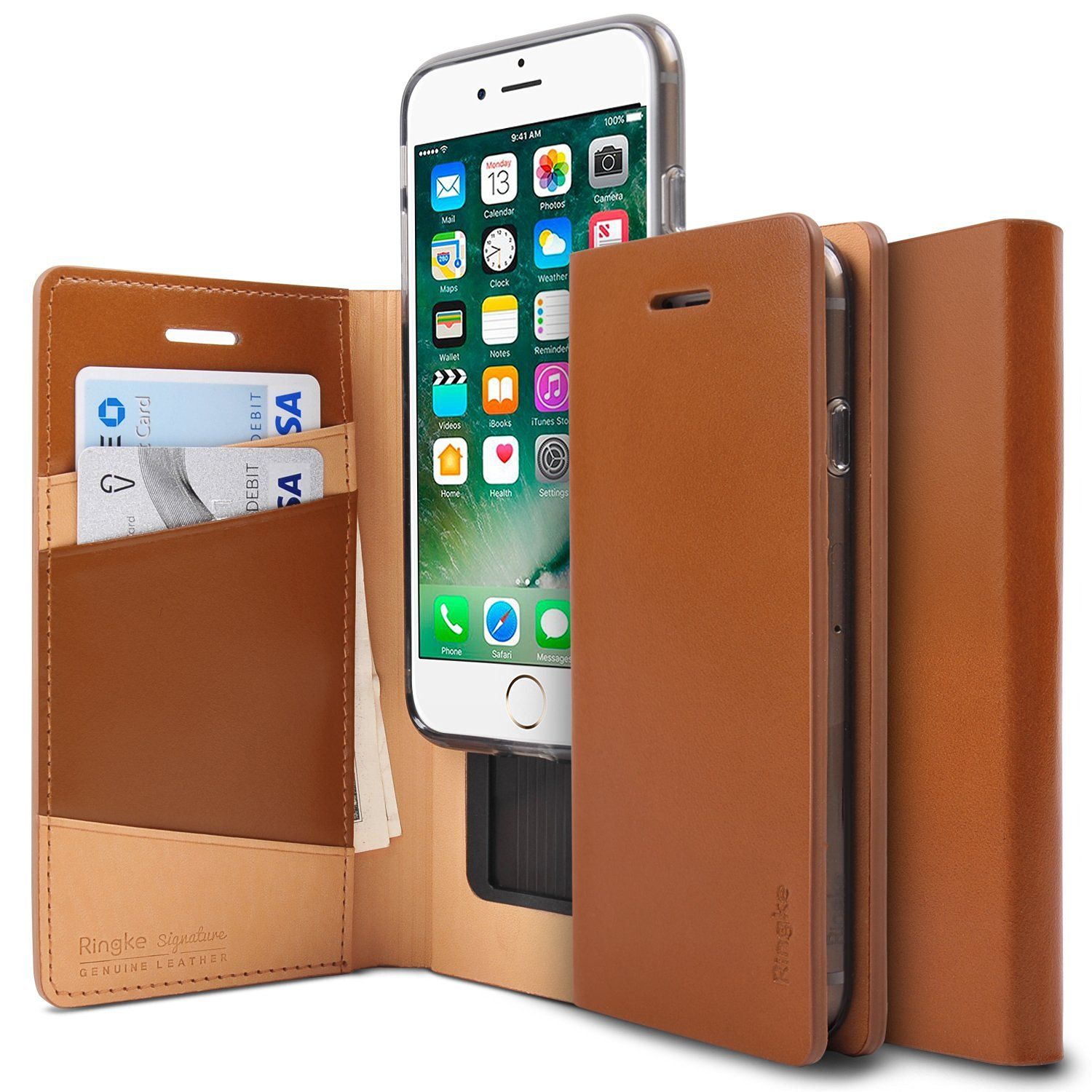 Ringke Signature iPhone 7 Leather Flip Case Cover Casing - Brown