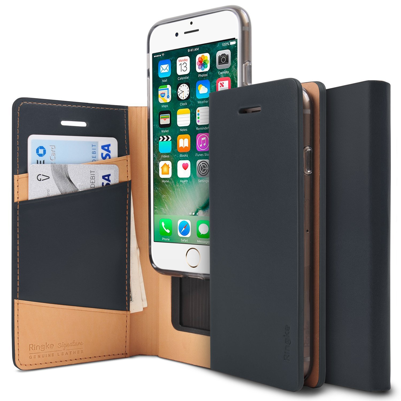 Ringke Signature iPhone 7 Leather Flip Case Cover Casing - Black