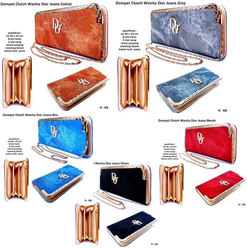 Dompet Clutch Wanita Dior Jeans-biru3