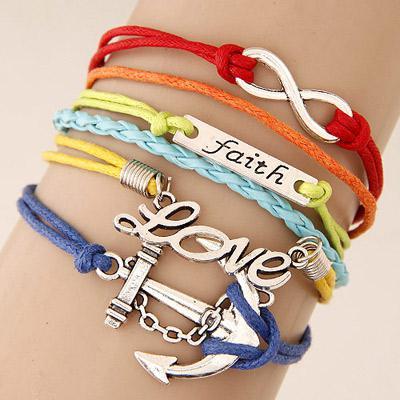 Gelang Korea Multicharm Faith Love Anchor Multicolor KB3987 Accesories
