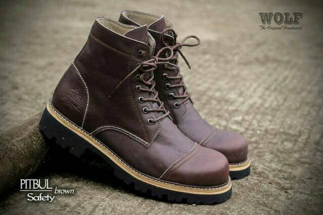 sepatu boot wolf pitbul safety kulit original