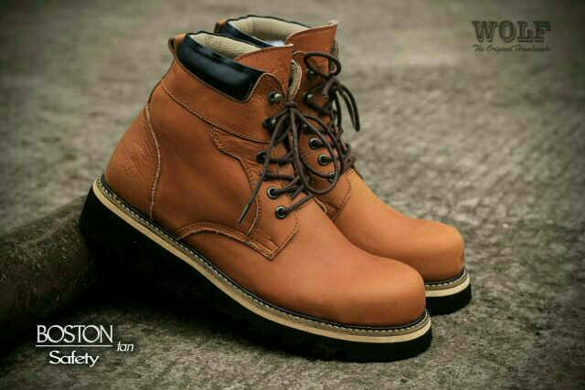 sepatu boot wolf boston safety kulit original