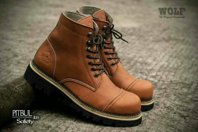 sepatu boot wolf pitbul safety kulit original
