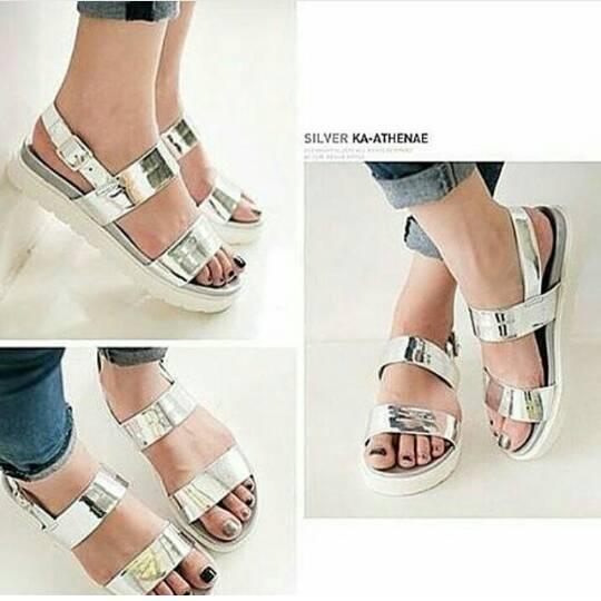 SPECIAL Sepatu Flatform Wanita Silver MURAH MERIAH