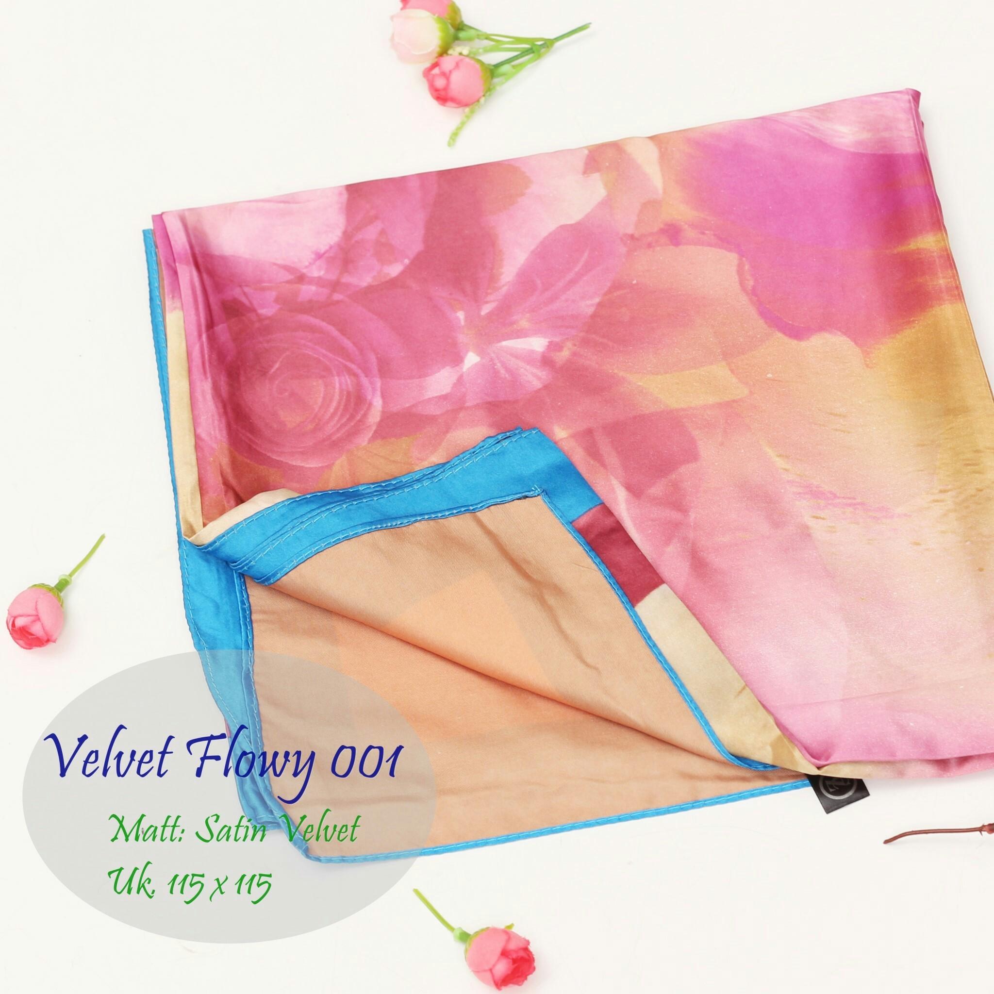 Grosir Kerudung | Pashmina Murah | Baju Murah : Velvet Flowy013