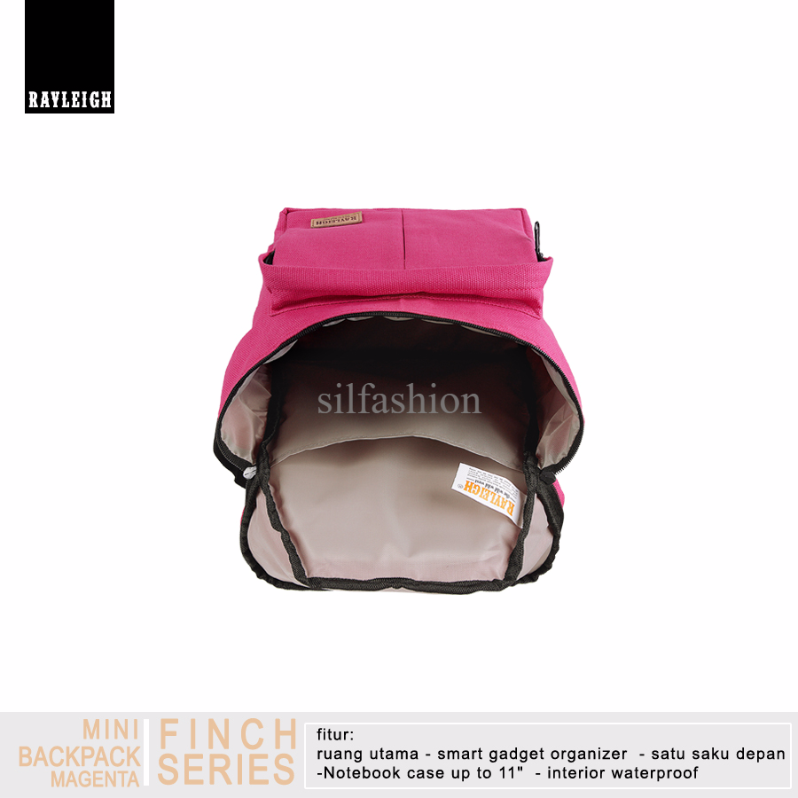 Rayleigh FINCH MAGENTA / Mini Backpack / Tas Ransel Canvas Laptop 11""