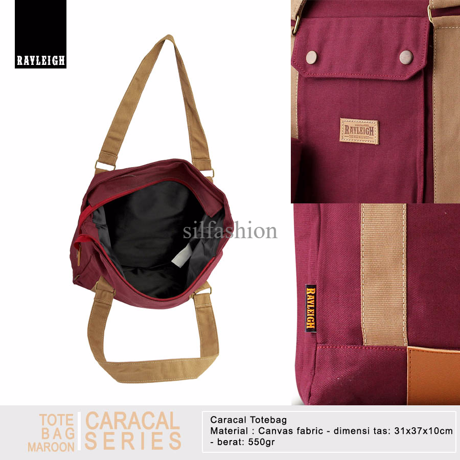 Rayleigh CARACAL TOTEBAG MAROON / Tas Jinjing Canvas / Free Pouch