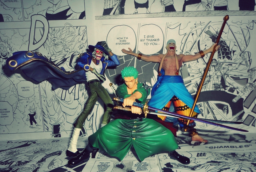 Set Of 3 One Piece Figure Scultures - Jango, Enel & Zoro