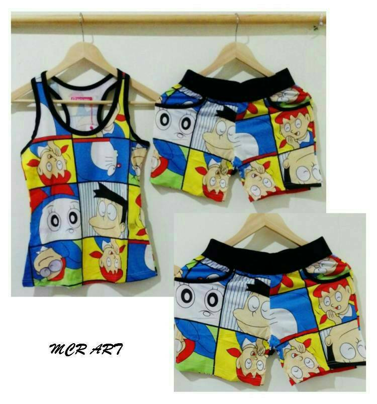 STDR166 - Setelan Tanktop Doraemon And Friends