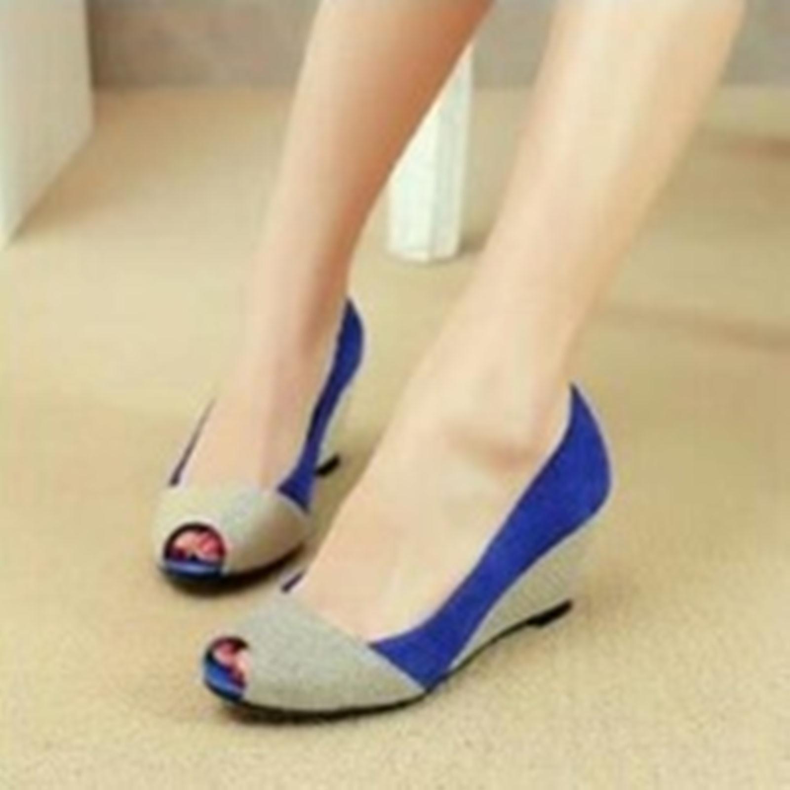 Sepatu Wedges Kerja Pesta Glitter Electric Blue / Biru Diskon