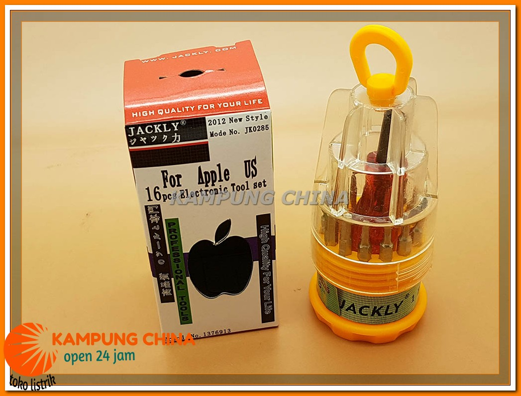 Obeng JACKLY 16 Pcs Electronic Tool Set Ready Stock