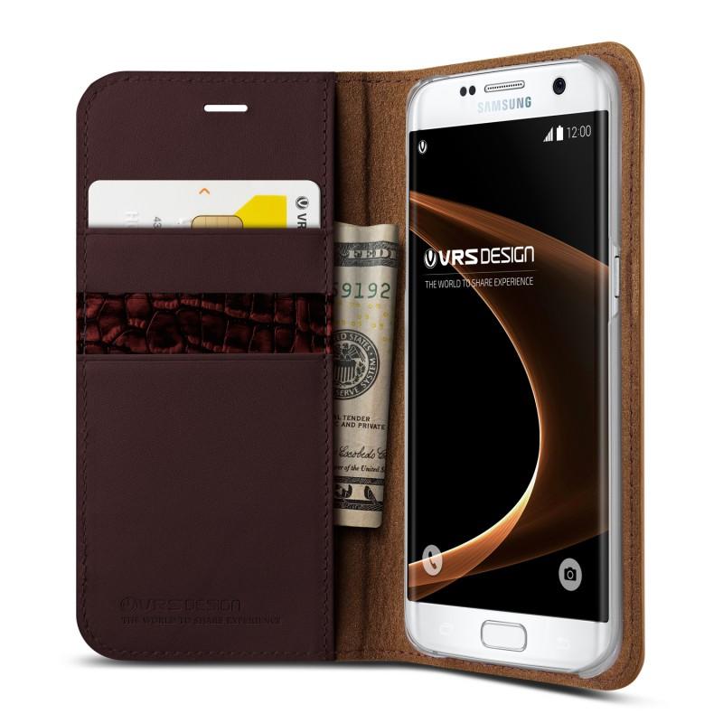Verus Galaxy S7 Edge Case Genuine Leather Diary - Brown