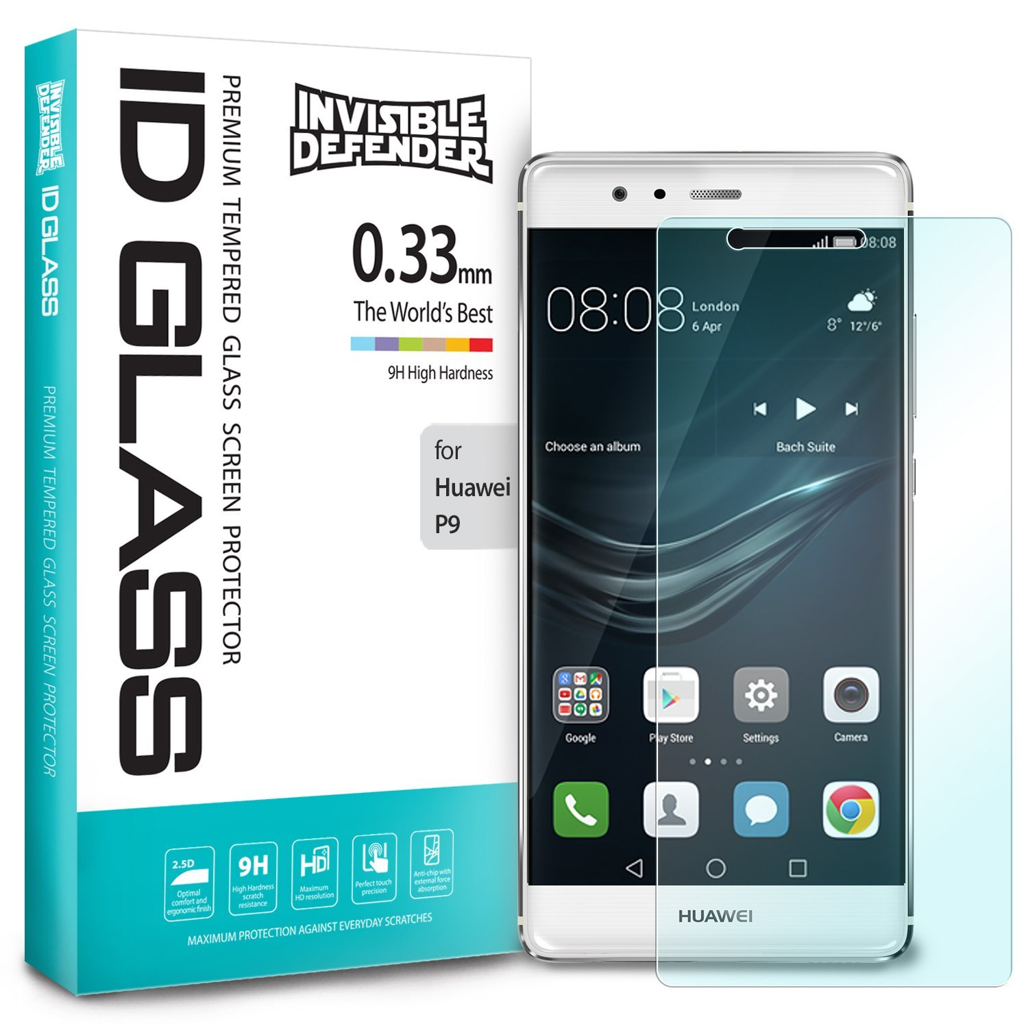 Ringke Huawei P9 Screen Protector Invisible Defender Glass 0.33