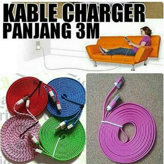 Kabel Data Charger Gepeng Tali Sepatu 3 Meter Micro BB N Sams Terla