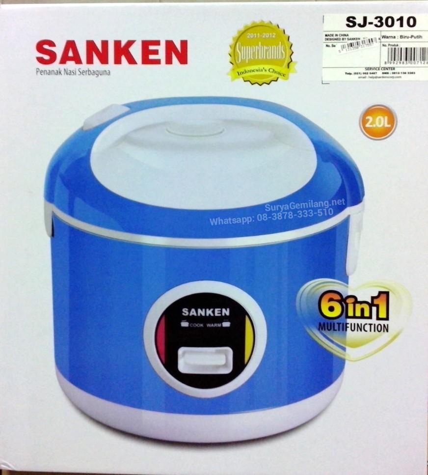 Rice Cooker Sanken SJ3010 Biru Stainless Asli, Baru, Garansi Resmi