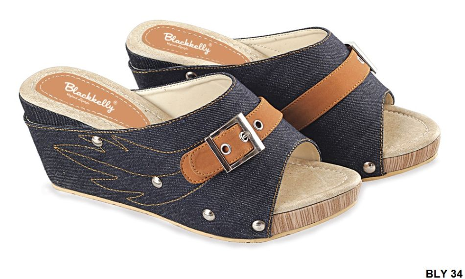 Sepatu Wedges Terbaru Jeans Sol Kelom-Karet Biru Tua BLY 34